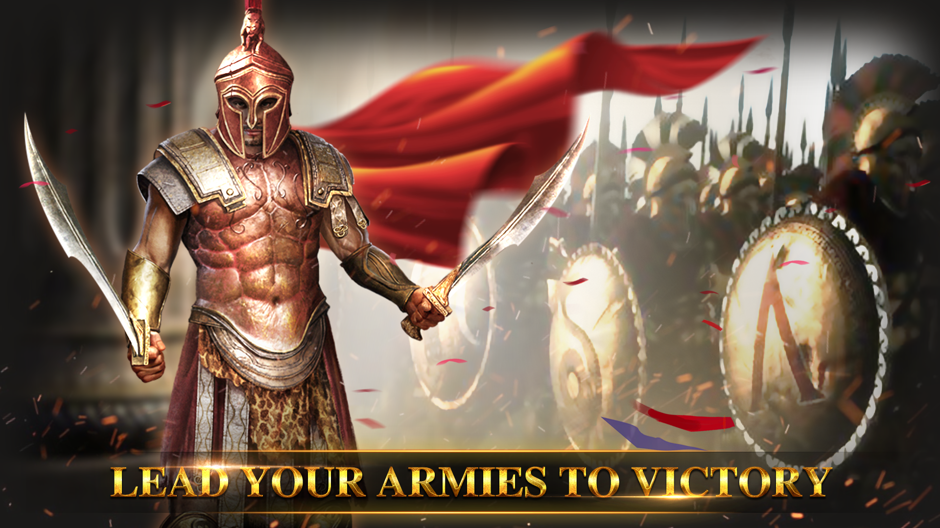 spartan warrior holding 2 swords in full armor with army of spartans