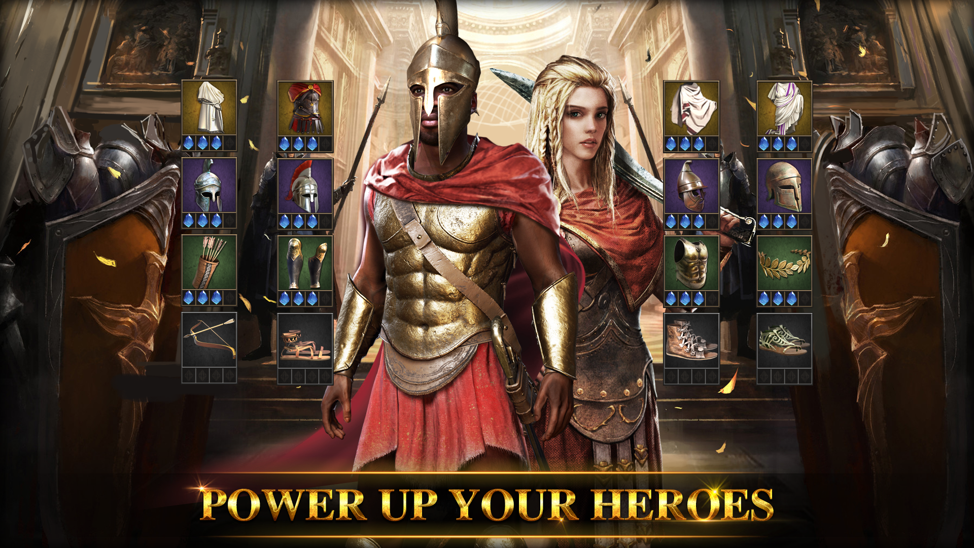 spartan man and woman warriors with full armors and equips
